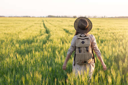 Traveler with a backpack in a field of wheat at sunset. Woman outdoor in nature at the backdrop of the open horizon. The concept of freedom and discovery. Environment and lifestyle