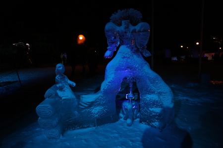 sculptures: ice sculptures winter night