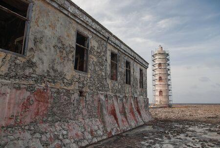 carribean: old Lighthouse carribean beach Bonaire island Stock Photo