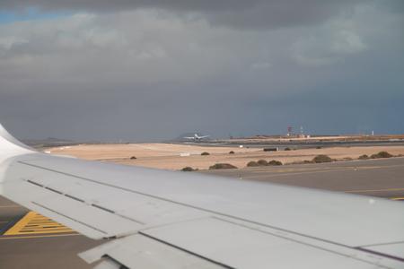 plane window: Fuerteventura Canarian island from plane window view