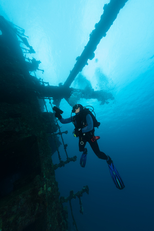 ship wreck: sunken ship wreck underwater diving Sudan Red Sea
