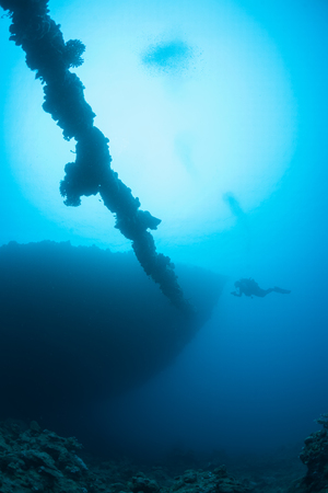 boat accident: sunken ship wreck underwater diving Sudan Red Sea