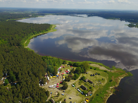 Riga lake Aerial drone top view Latvia