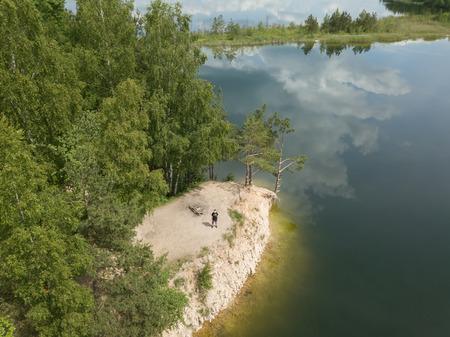 Sauriesi lake Aerial drone top view Latvia Stock Photo