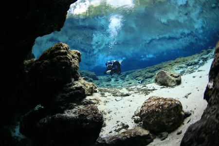divers underwater caves diving Florida United States of America