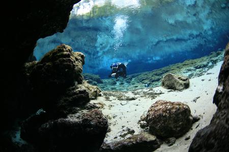 duikers onderwater grotten duiken Florida Verenigde Staten van Amerika Stockfoto