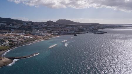 Aerial view of Tenerife island Canary Spain Atlantic ocean drone top view 写真素材