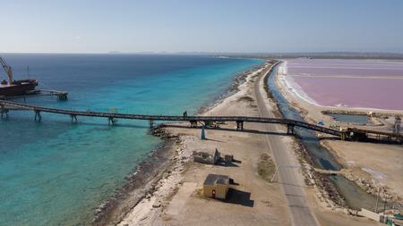 rose caribbean salt lake Bonaire island aerial drone top view Stock Photo
