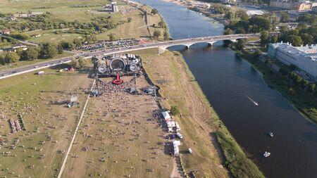 Aerial view of Jelgava city Latvia Zemgale drone top view