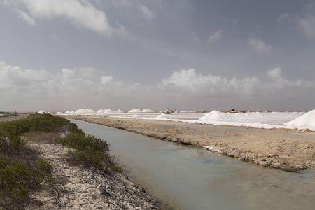 caribbean salt lake mining work Bonaire island Netherlandes Antilles Stock Photo