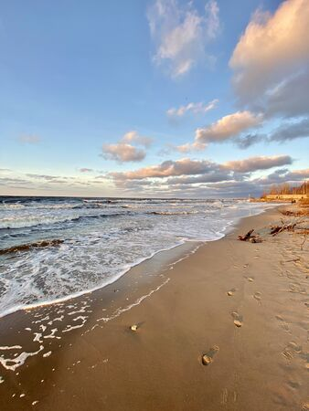 Baltic Sea autumn coast beach Bolderaja Riga Latvia Stock fotó