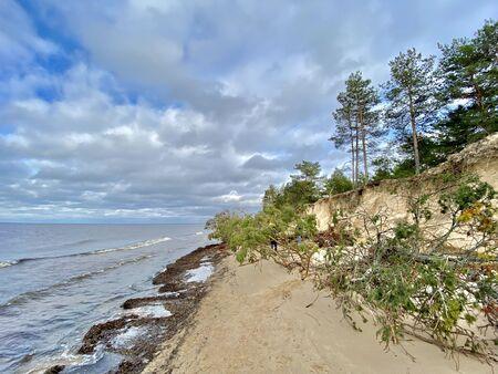 Baltic Sea autumn coast beach Carnikava Gauja river Latvia 版權商用圖片