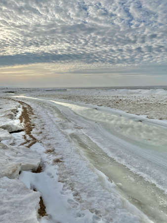 Baltic Sea winter snow ice coast beach Carnikava Latvia