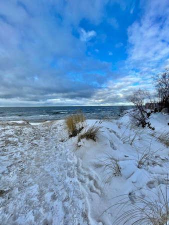 Baltic Sea winter coast beach Daugavgriva pier Latvia