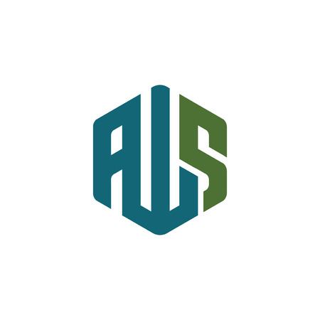 A W S Letter Hexagonal abstract logo