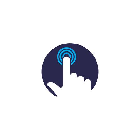 choosing: A finger pressing a circle icon. Illustration