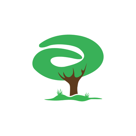 alphabet tree: Letter A icon template design.