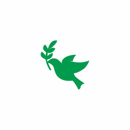 a green Dove Logo Icon isolated in white