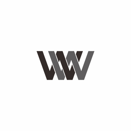 Overlapping letter w in isolated background. logo vector