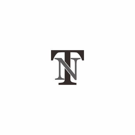 Overlapping TN letter logo isolated on white