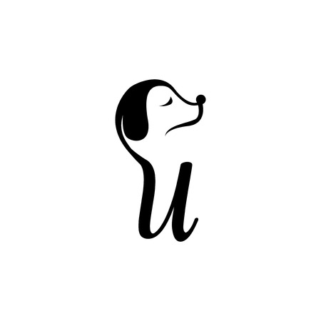 U Letter and Dog Logo