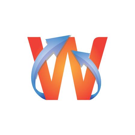 W Letter Arrow Logo Element