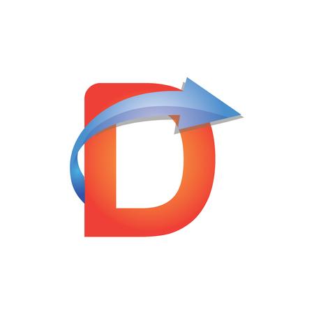 D Letter Arrow Logo Element