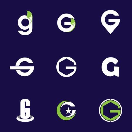 Set of letter logo design template elements collection of vector letter G logo