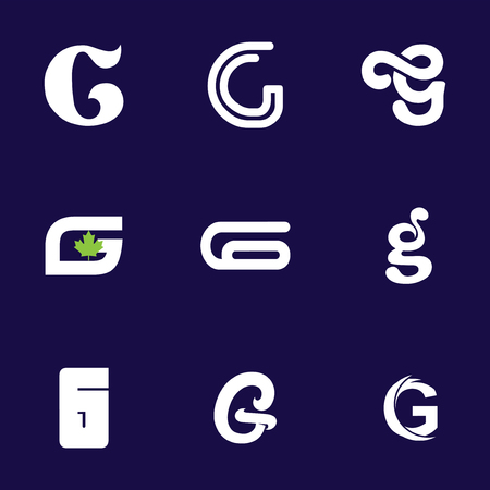 Set of letter logo design template elements collection of vector letter G logo