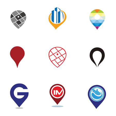 Set of pin locations vector logo design template elements collection