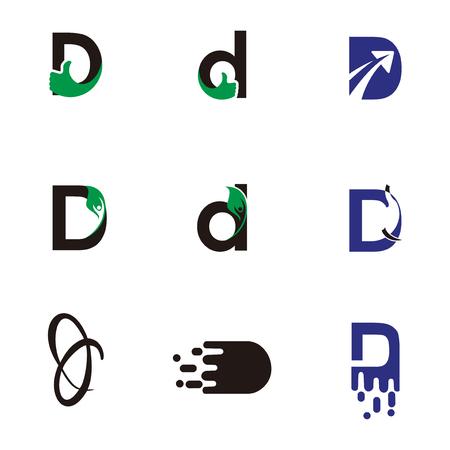 Set of letter logo design template elements collection of vector letter D logo