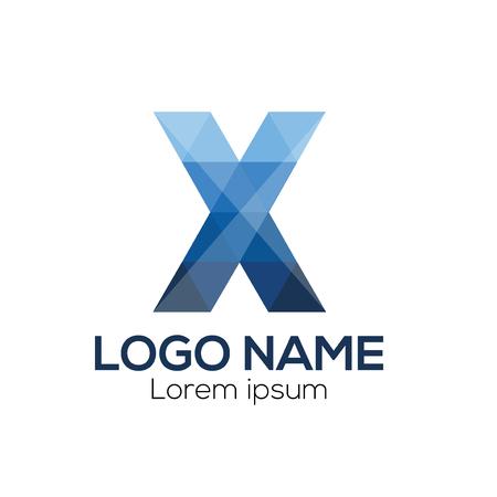 Modèle vectoriel X lettre Logo. Modèle de vecteur de logo lettre X coloré