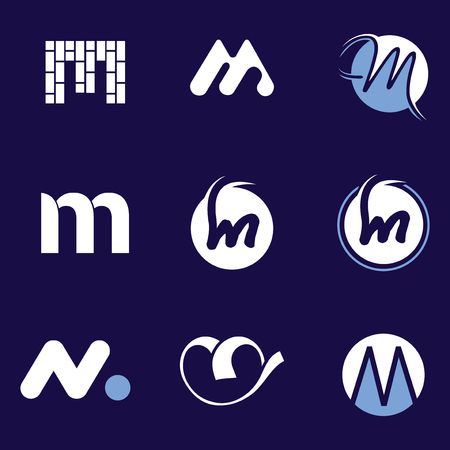 Set of letter logo design template elements collection of vector letter M logo