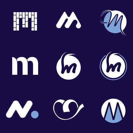 Set of letter logo design template elements collection of vector letter M logo