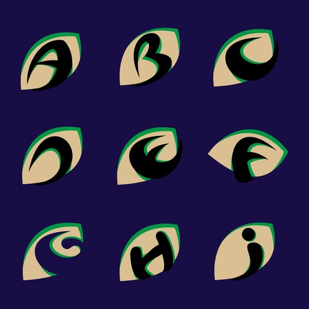 Leaf letters set Logo element. Corporate branding identity design template. Leaf Green letters collection. Vector illustration