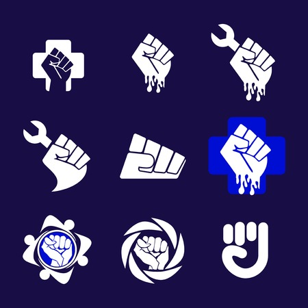 Abstract Fist set Logo element. Corporate branding identity design template. Fist Freedom design collection. Vector illustration
