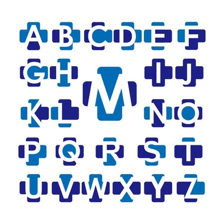 Medical Cross Alphabet letters set logo element. Corporate branding identity design template. Medical letters collection. Vector illustration