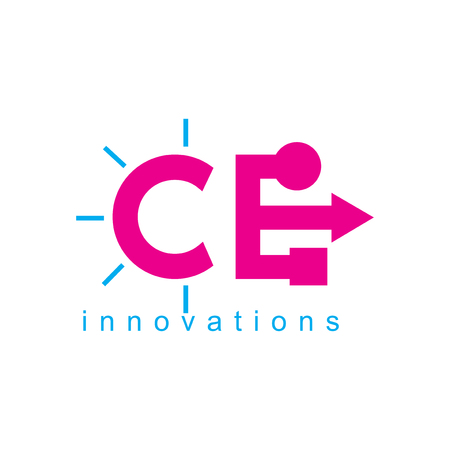 CE Initial with Lamp and Connect   Icon element. Connect design collection.