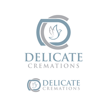 DC Letter with dove icon element. Cremations design collection. Ilustração