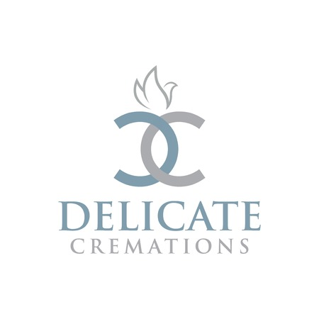 DC Letter with dove element. Cremations design collection.