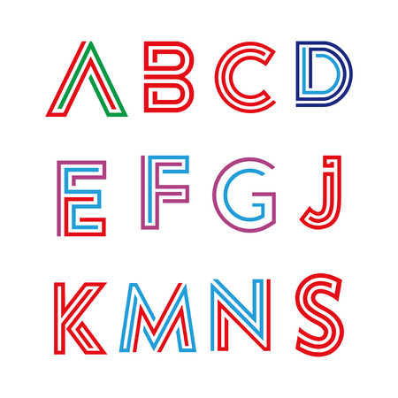 Alphabet letters set with abstract Line  element. Line letters collection.