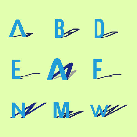 Alphabet letters set with Shadow  element. Shadow letters collection Vector Template. Иллюстрация