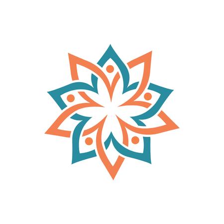 Elemento de vector logo de círculo floral de personas. plantilla de logotipo floral