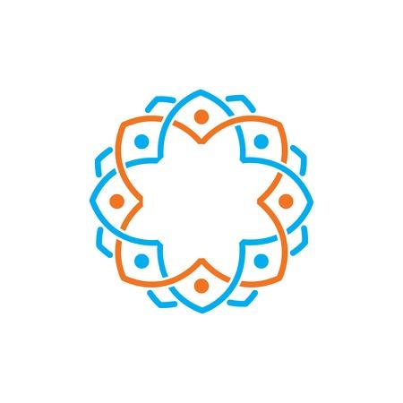 Line mandala Floral circle logo vector element. floral logo template Illustration