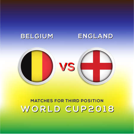 Background Soccer world championship Belgium vs England. Vector illustration.