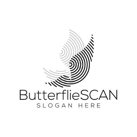 butterflies Scan Technology Logo vector Element. Animal Technology Logo Template Logo