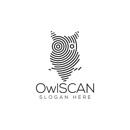 Owl Scan Technology Logo vector Element. Animal Technology Logo Template