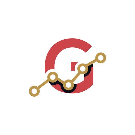 G Letter Business Stats Logo Design Element. logo Vector Template