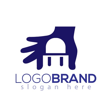 Chair logo negative space in hand logo vector element Illustration