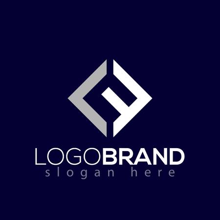 LF Pierwsza litera kwadratowa Logo elementu wektorowego Szablon
